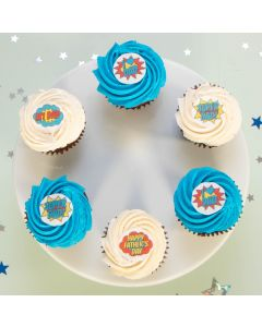 Super Dad Cupcake Selection - Box of 6 (BCRM A2727)